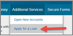 Apply for a Loan Online Banking Menu